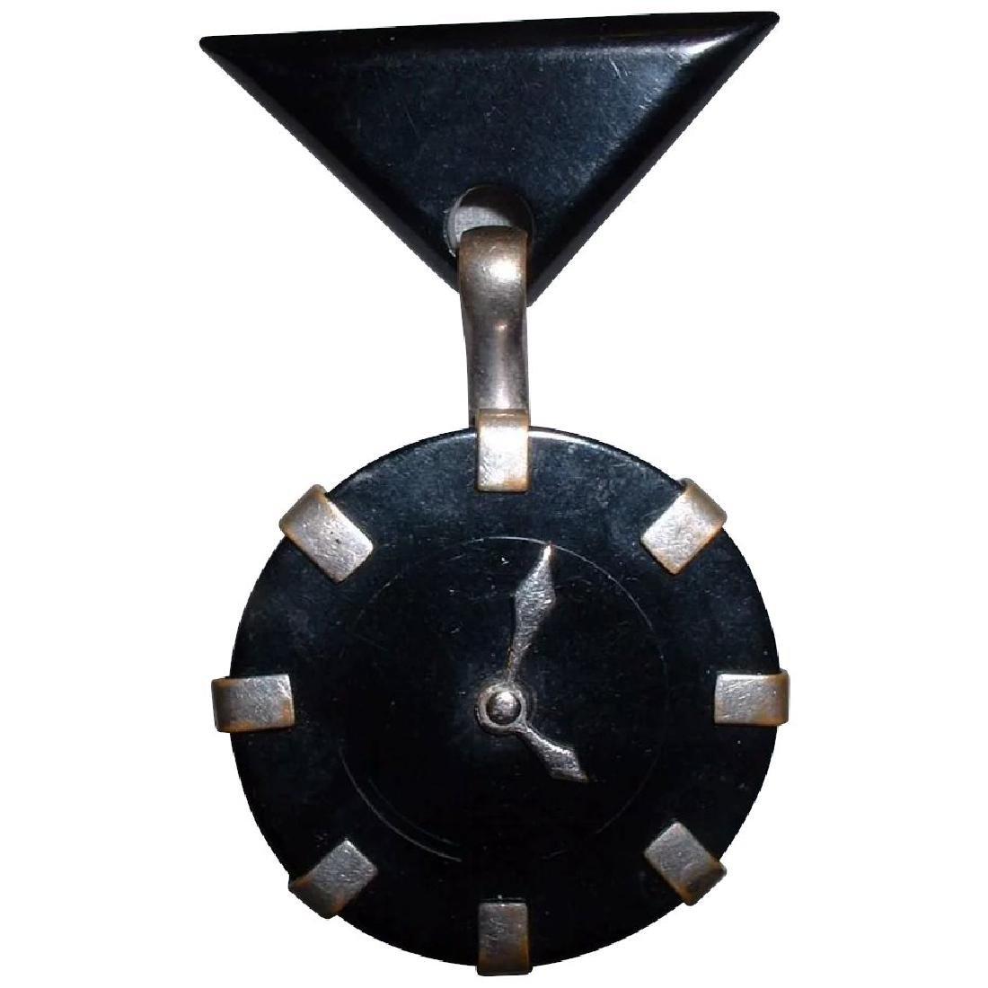 Vintage BAKELITE Clock Pin with Moving Hands Brooch