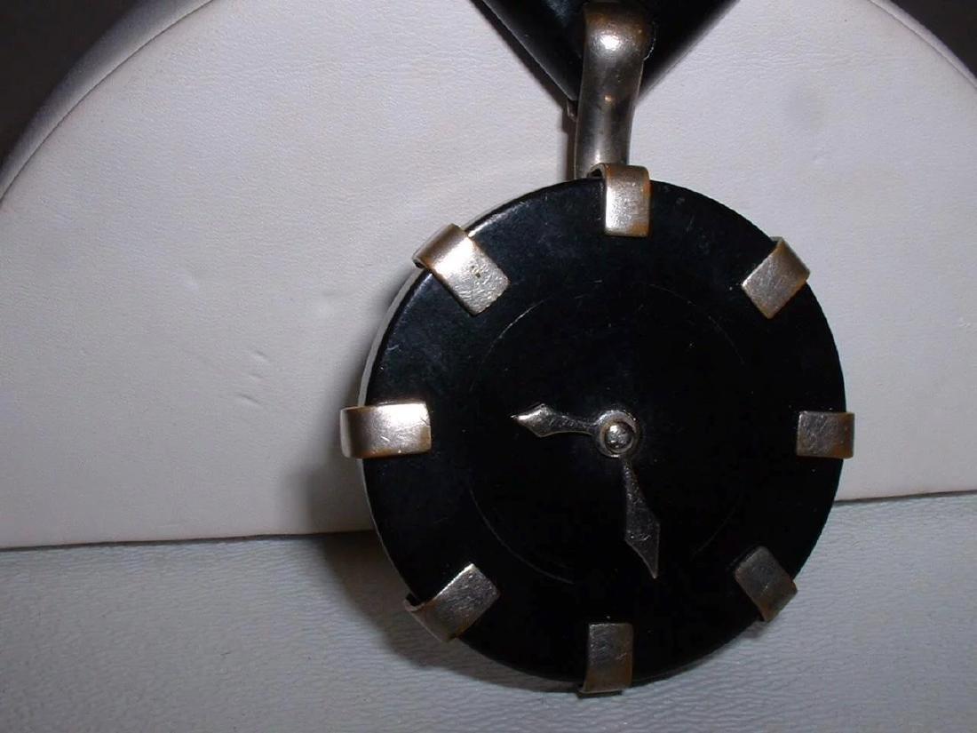 Vintage BAKELITE Clock Pin with Moving Hands Brooch - 7