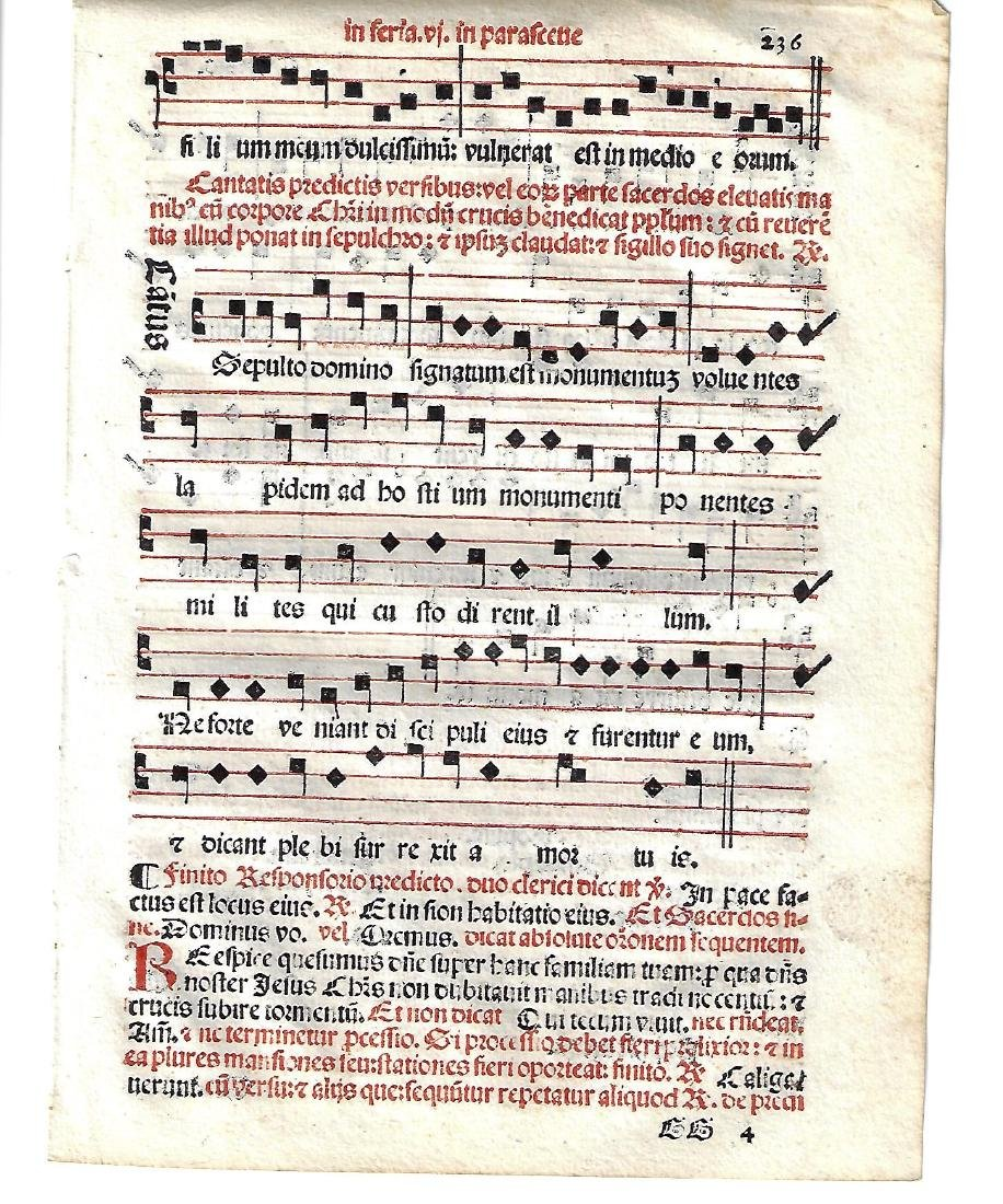 1567 Catholic Hymnal Leaf in Red and Black