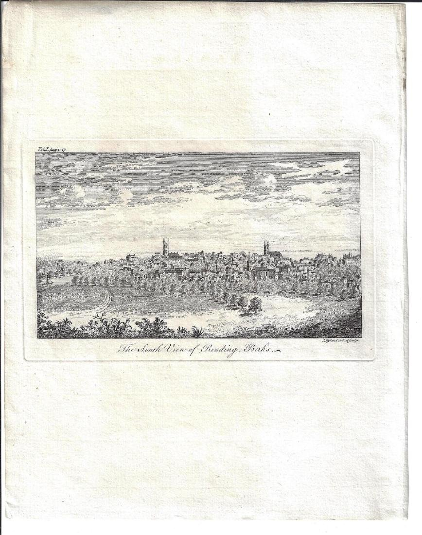 Fine Engraving South View of Reading, Berks