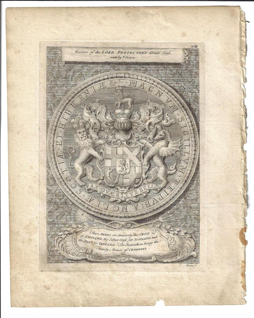 1753 Engraving Great Seal of Lord Protector Cromwell