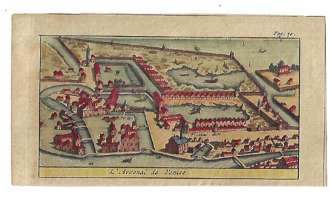 Fine 18th Century Hand Colored Engraving of L'Arsenal