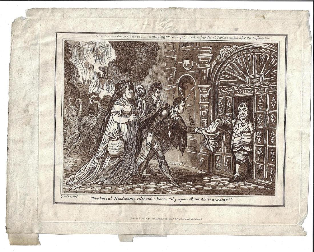 1818 James Gillray Engraving Theatrical Mendicants
