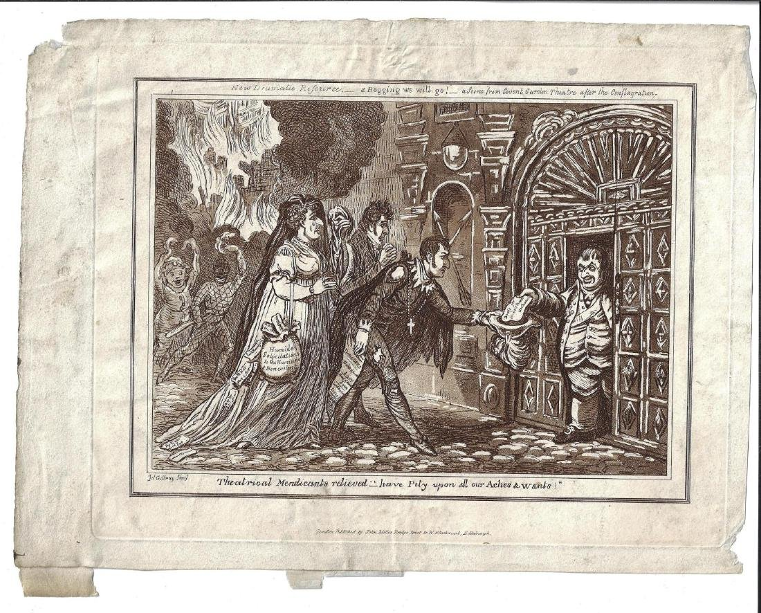 1818 James Gillray Engraving Theatrical Mendicants