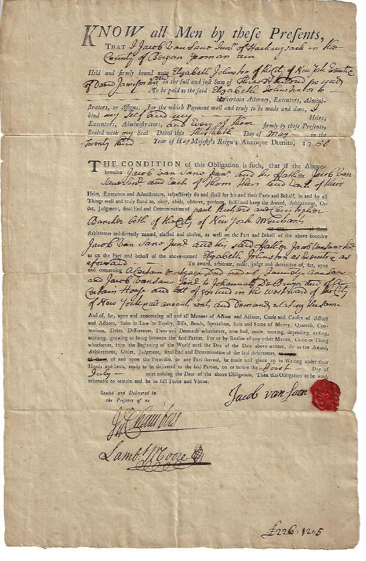1750 New York Obligation Bond Van Suen w/ Seal
