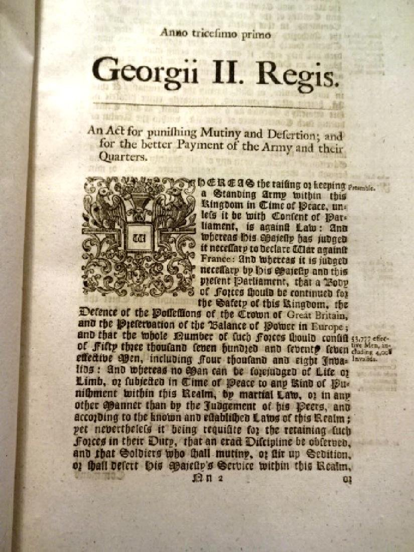 1758 Two Military Acts of Parliament George II - 3