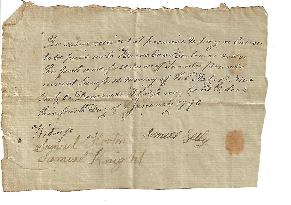 1790 New York Promissory Note Barnabas Horton