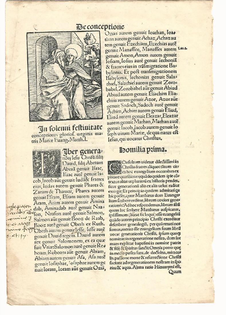 16th C Woodcut Leaf in Latin