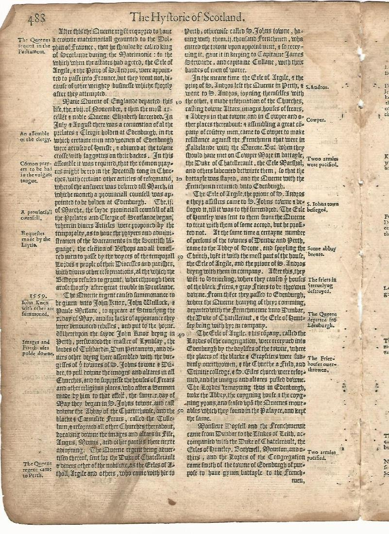 1577 Two English Leaves Holinshed Chronicles Scotland