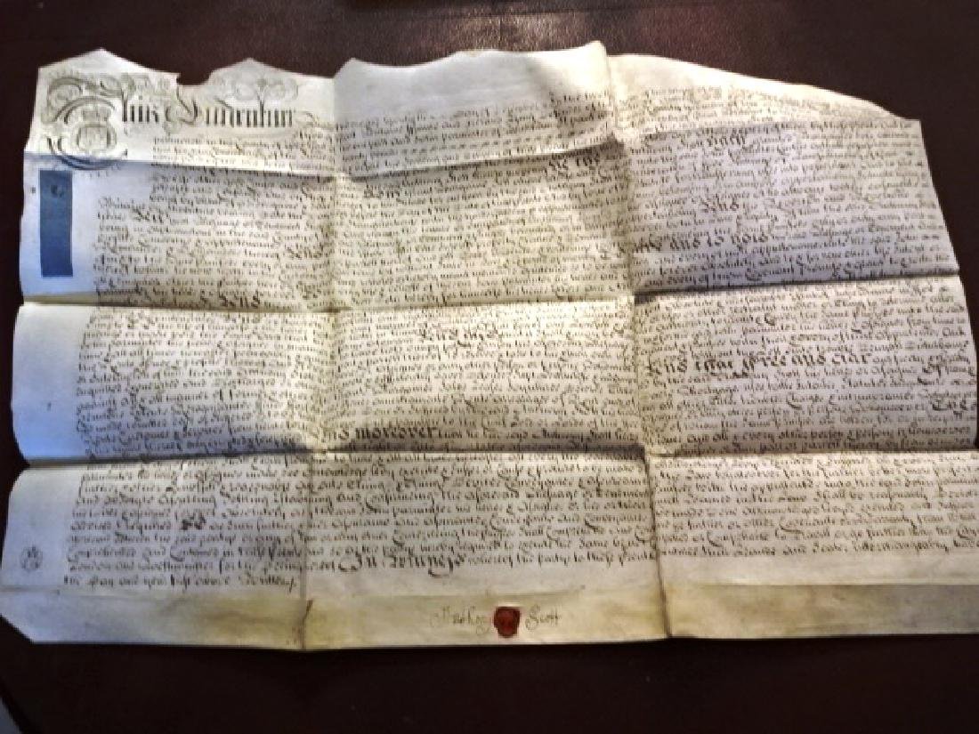 1725 Beautifully Penned English Vellum Deed w/ Seal - 2
