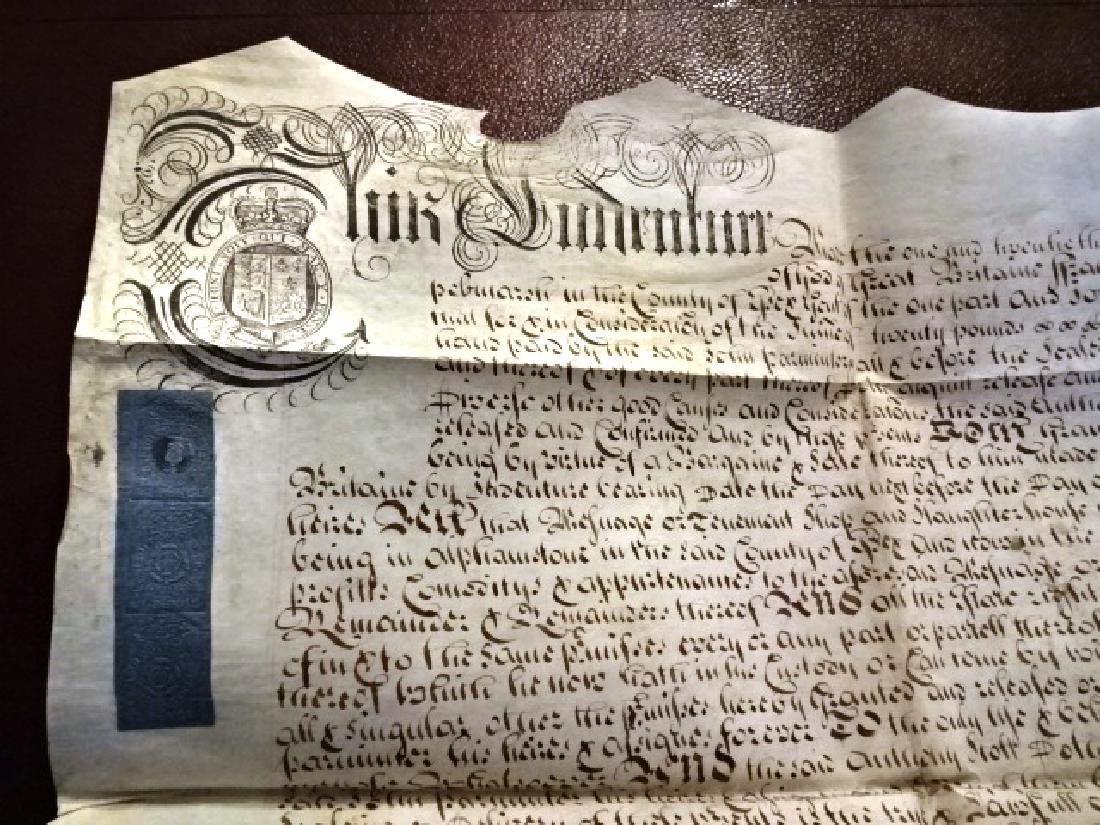 1725 Beautifully Penned English Vellum Deed w/ Seal - 3