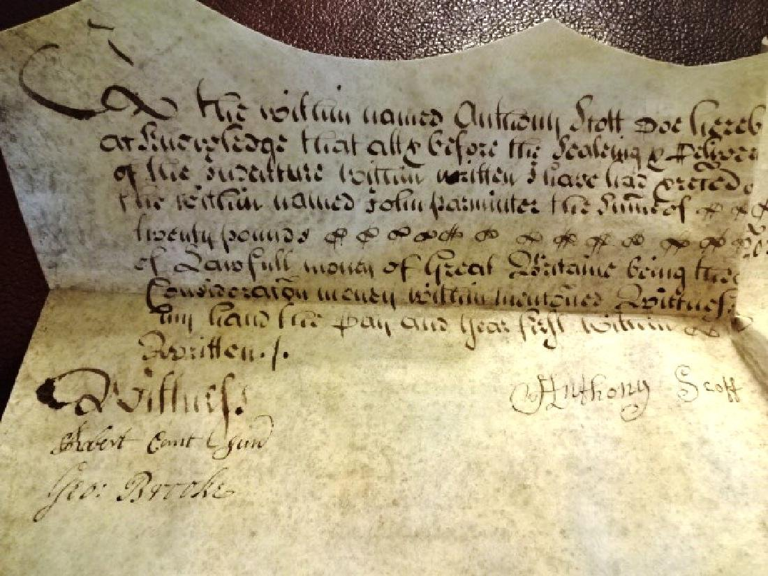1725 Beautifully Penned English Vellum Deed w/ Seal - 4