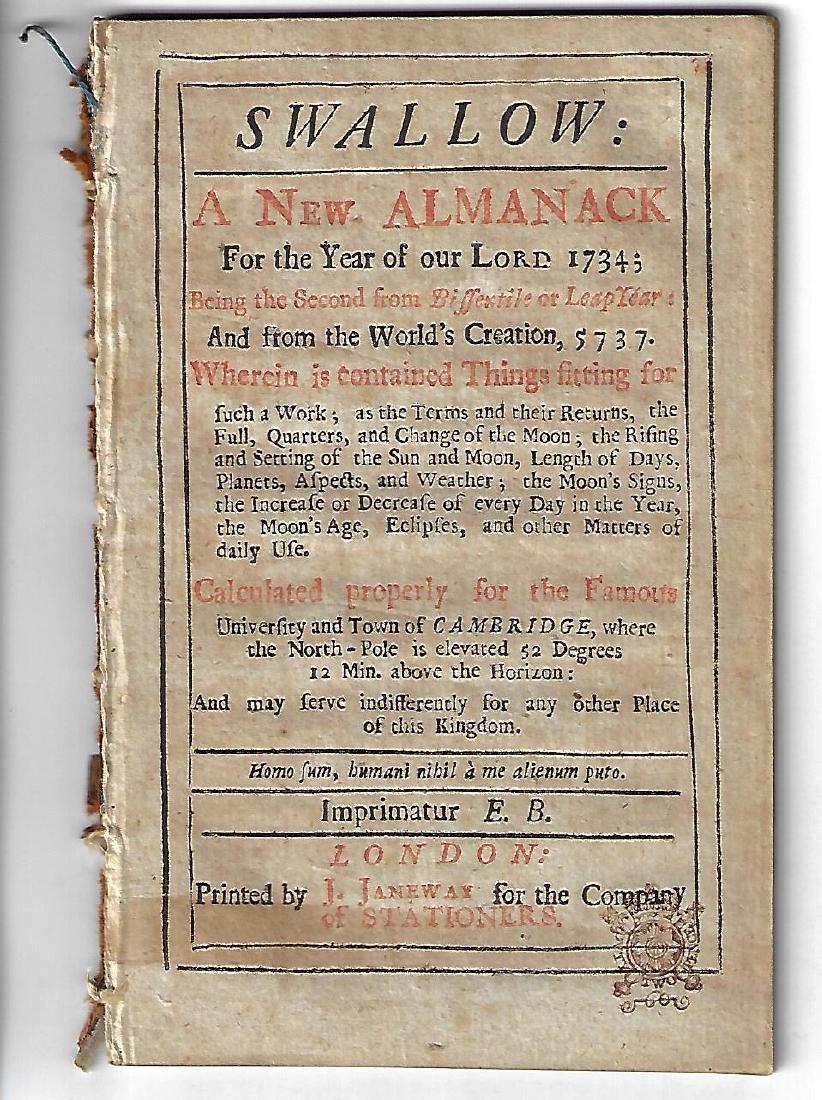 1734 The Swallow, English Almanack
