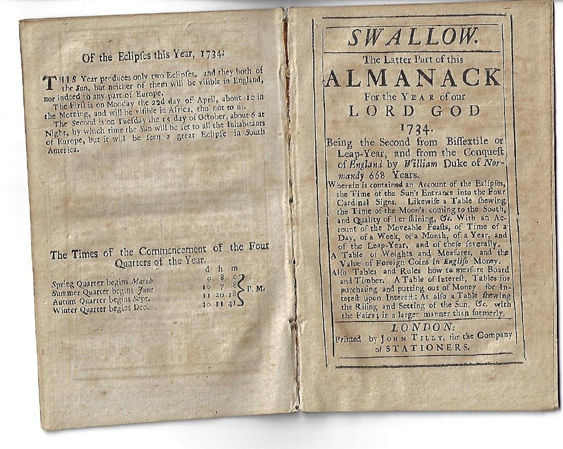 1734 The Swallow, English Almanack - 2