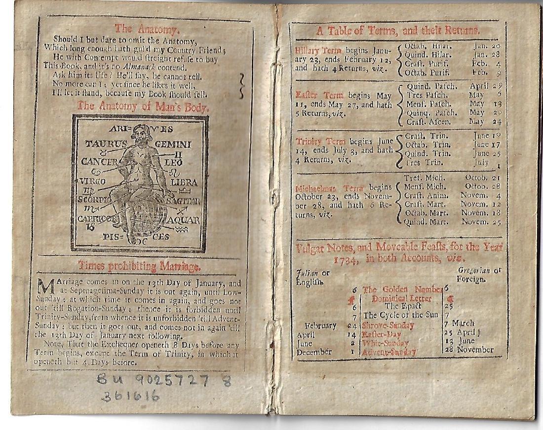 1734 The Swallow, English Almanack - 3