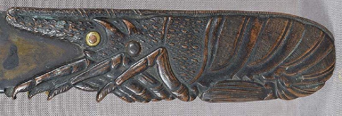 19c Japanese bronze page turner LOBSTER & shells