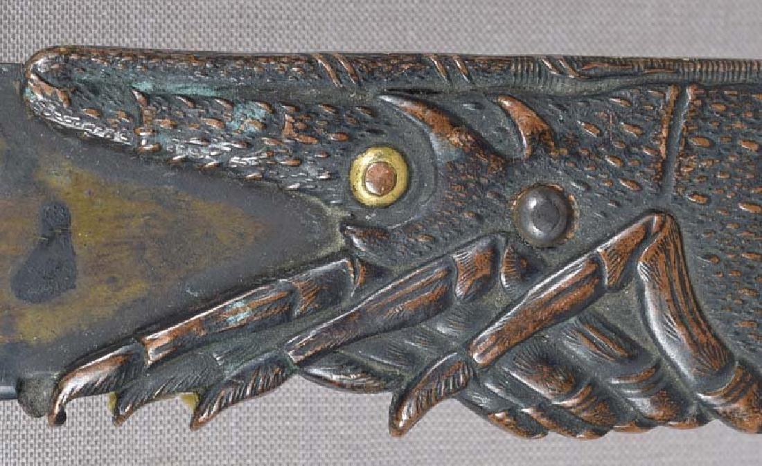 19c Japanese bronze page turner LOBSTER & shells - 5