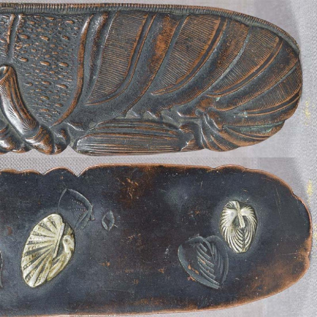 19c Japanese bronze page turner LOBSTER & shells - 6