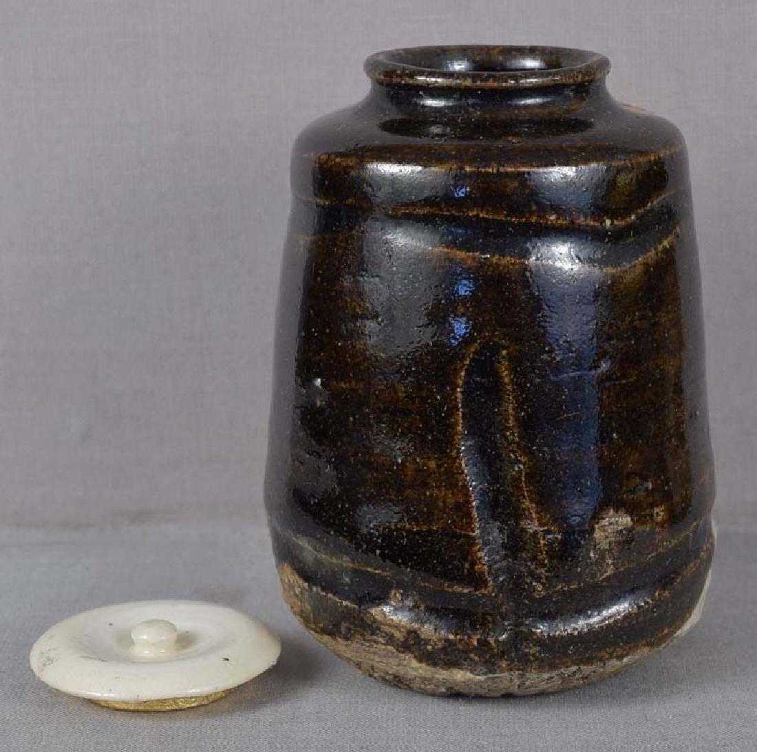 19c tea ceremony BLACK ORIBE tea caddy CHAIRE - 4
