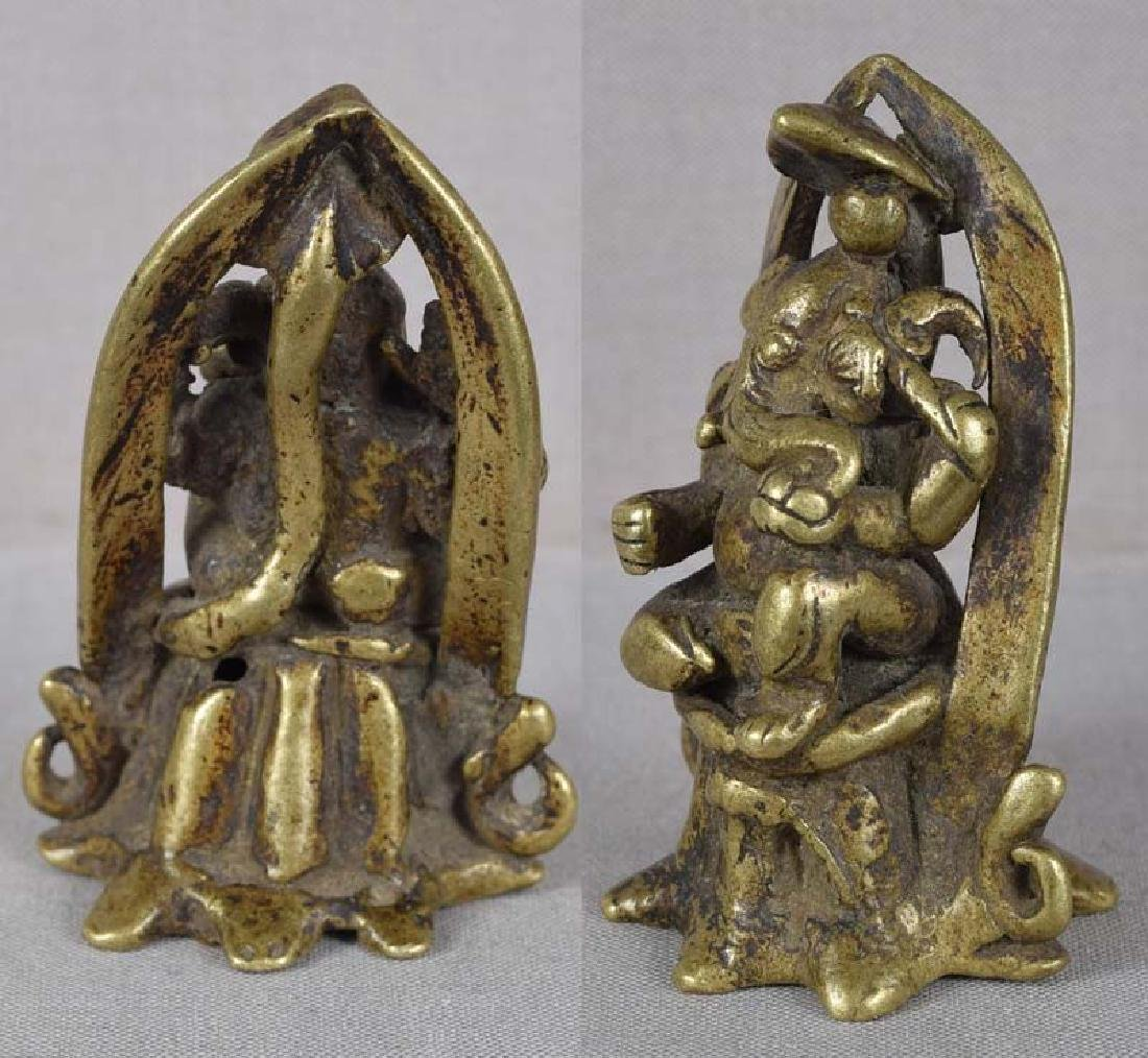 18c Indian bronze GANESHA with rat & naga snake - 3