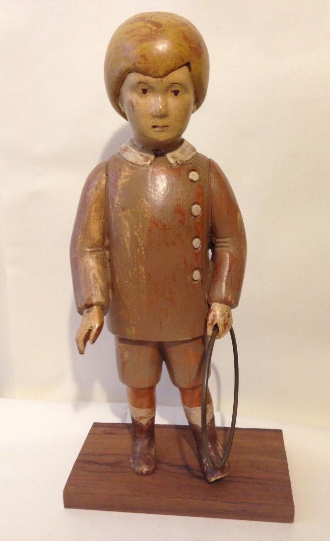 Early 20th Century Solid Wood Figure of a Boy