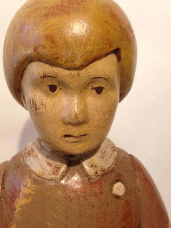 Early 20th Century Solid Wood Figure of a Boy - 2