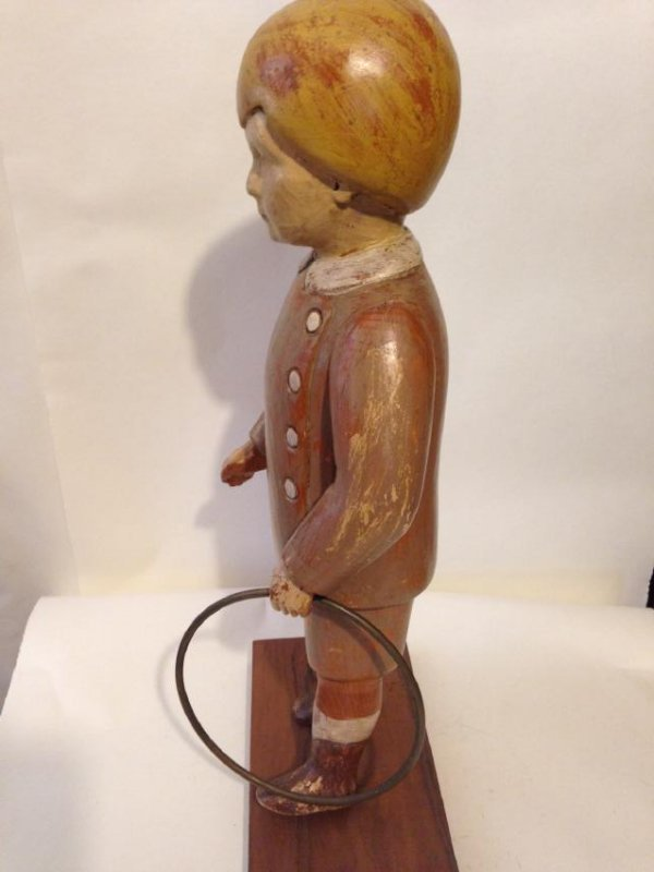 Early 20th Century Solid Wood Figure of a Boy - 4