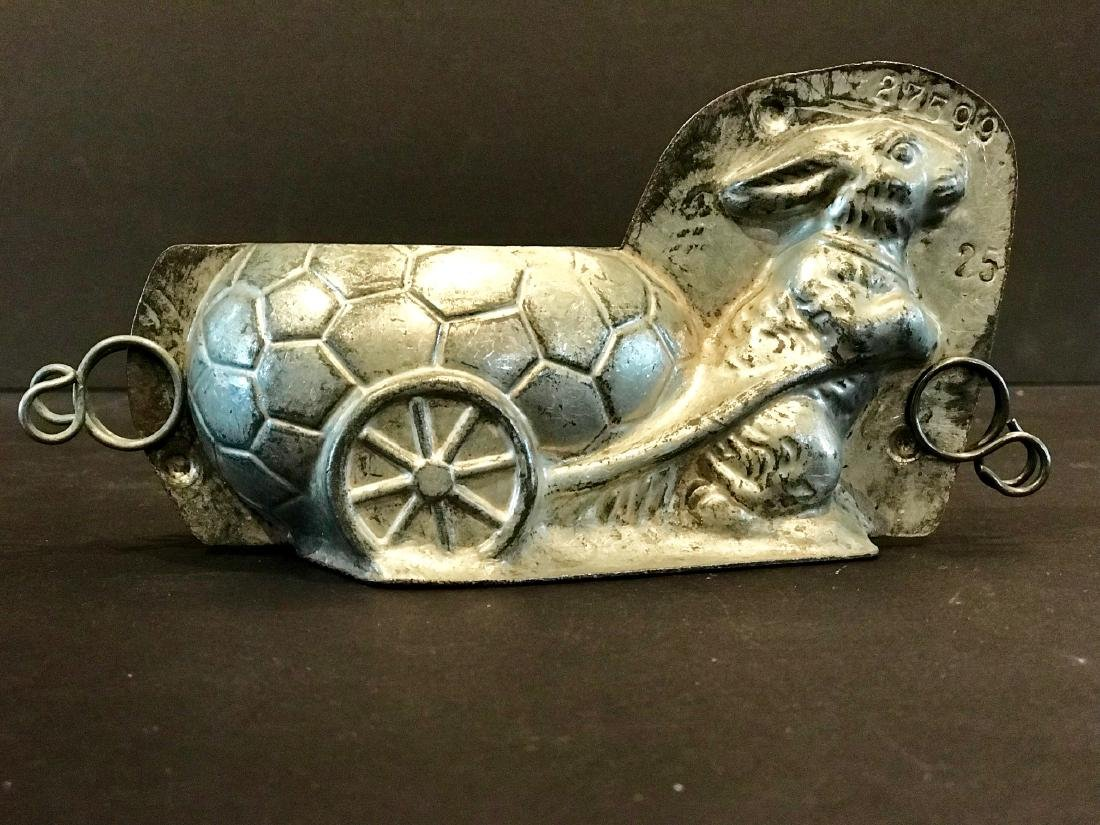 Bunny Towing Cart Chocolate Mold, Early 20th c - 2