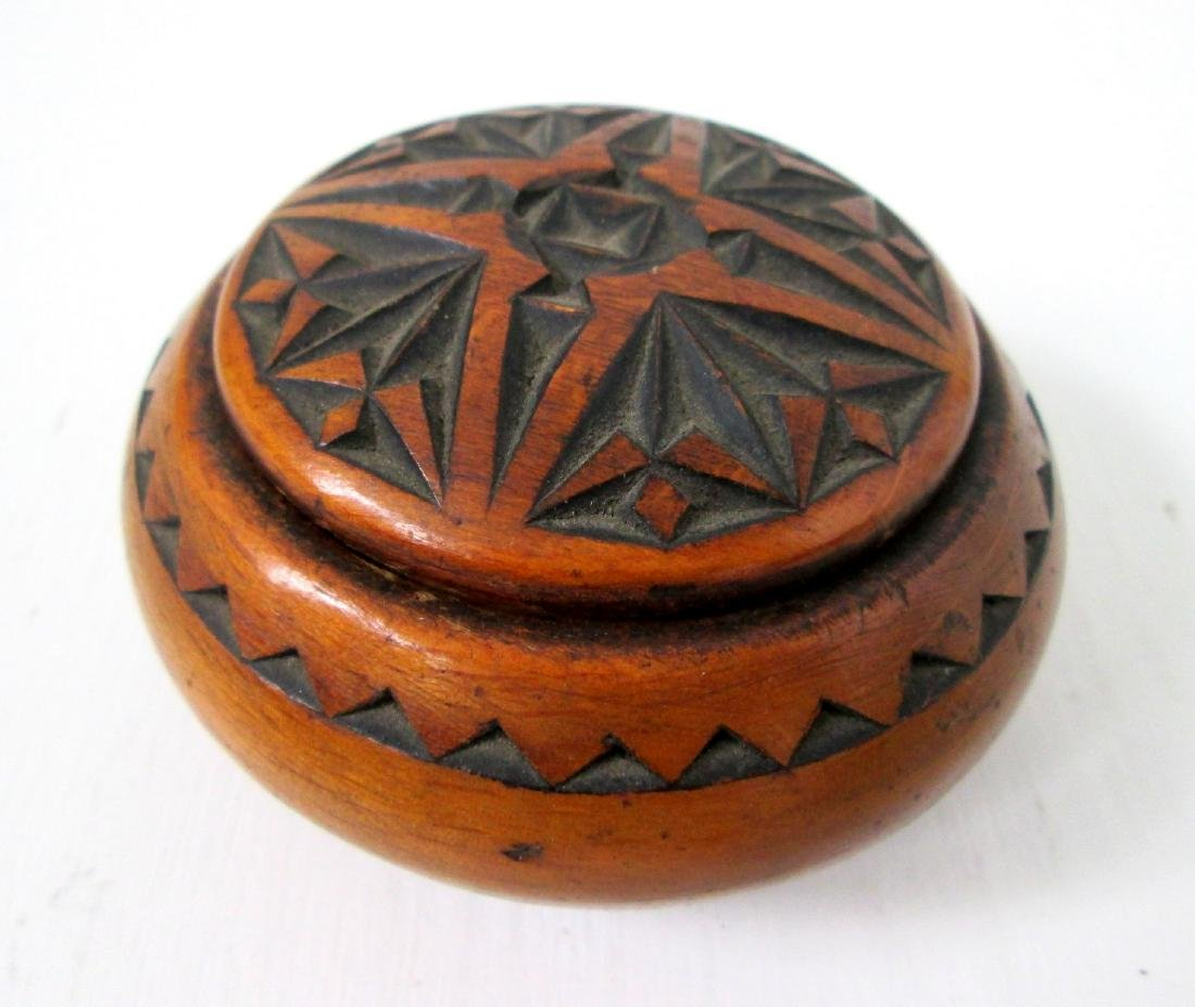 Early Carved Treen Jar
