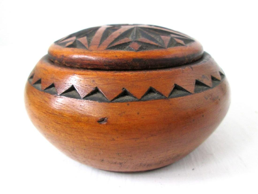 Early Carved Treen Jar - 2