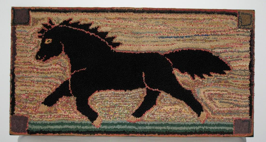 Black Running Horse Hooked Rug