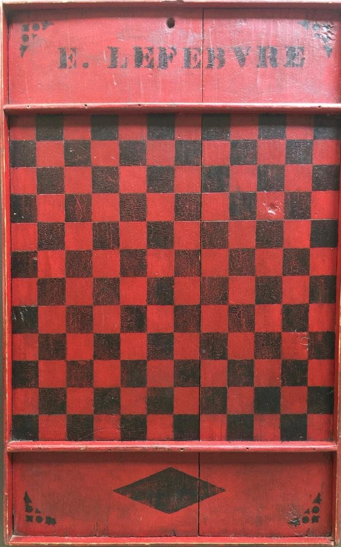 Late 19th C Red and Black Gameboard
