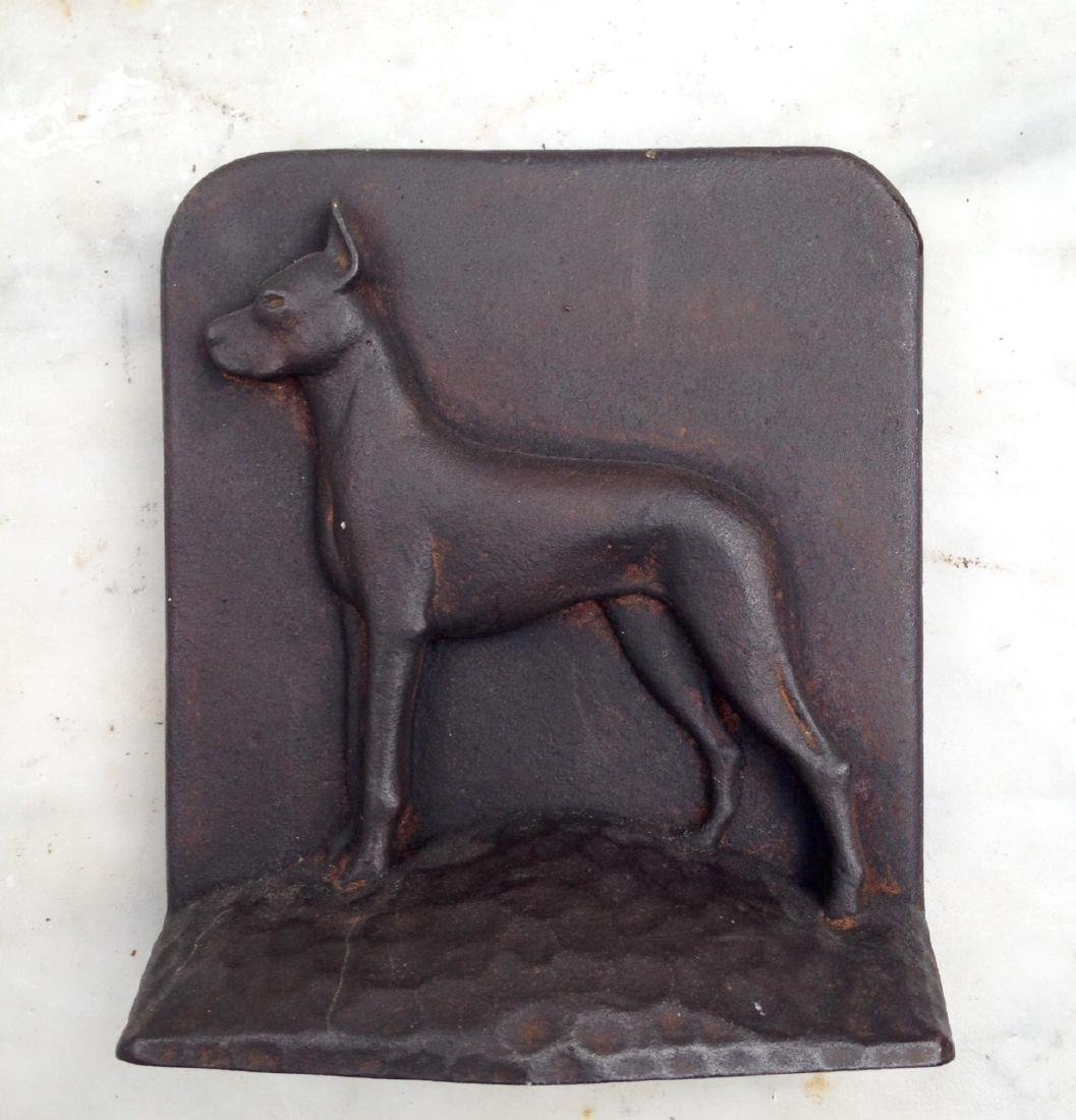 C 1900 Cast Iron Great Dane Doorstop in GC