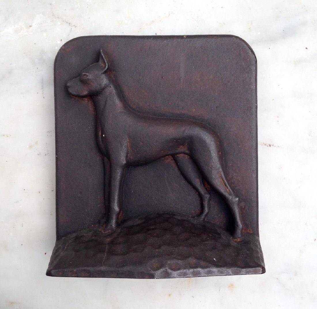 C 1900 Cast Iron Great Dane Doorstop in GC - 2
