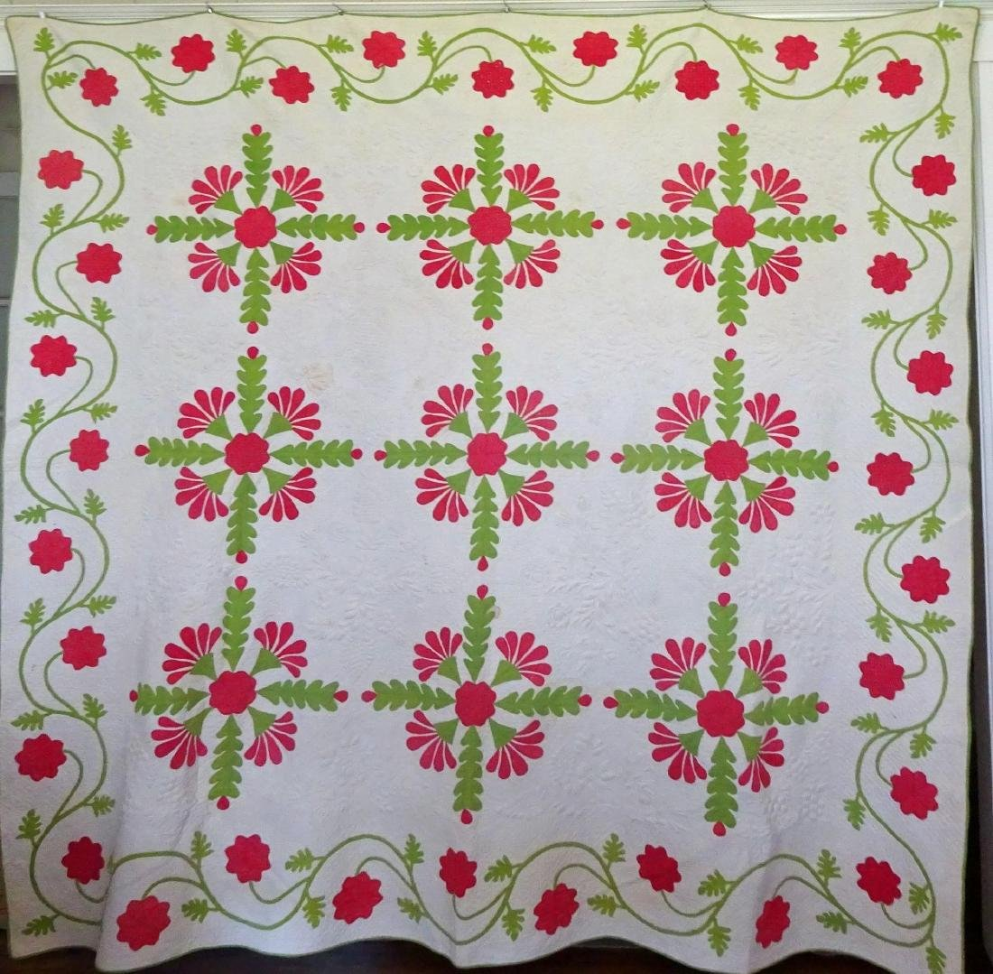 Trapunto Applique Quilt Exquisite Initialed 1800's - 10