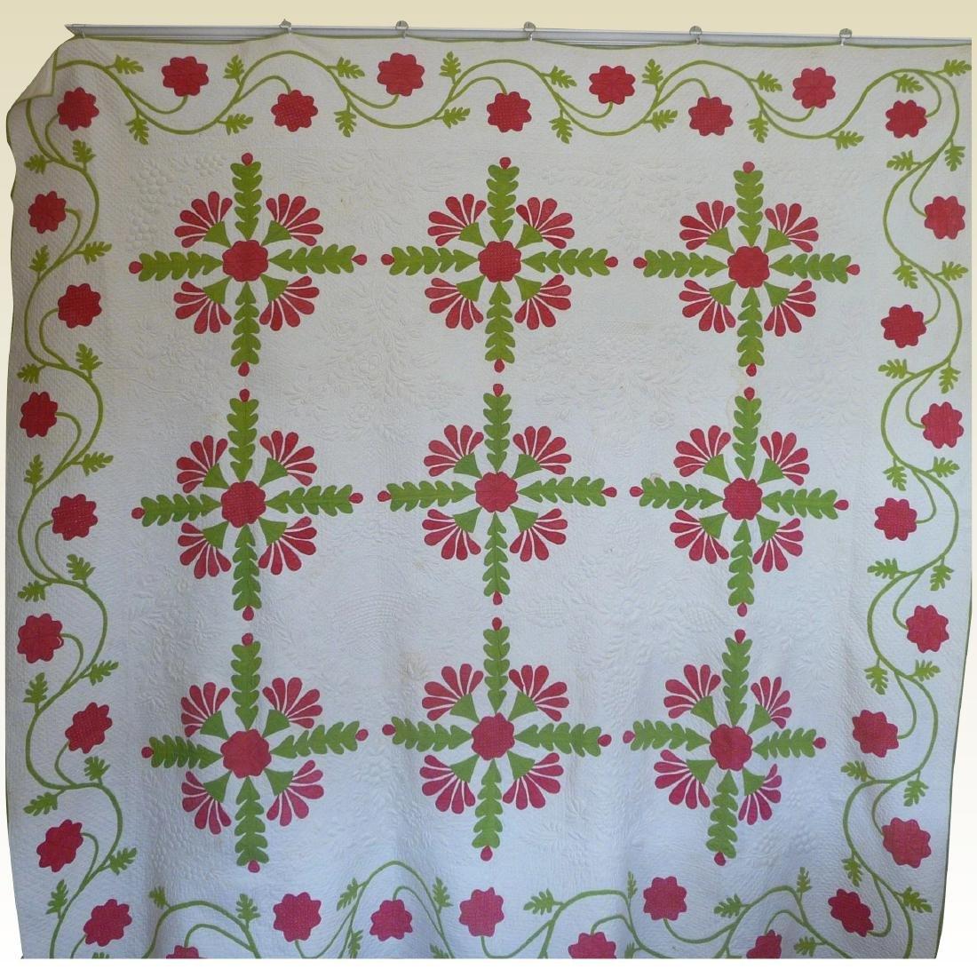 Trapunto Applique Quilt Exquisite Initialed 1800's