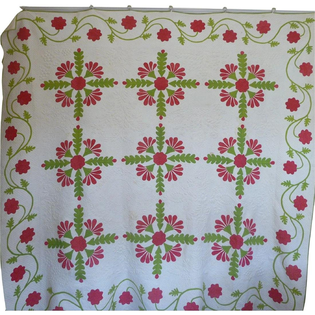 Trapunto Applique Quilt Exquisite Initialed 1800's - 2