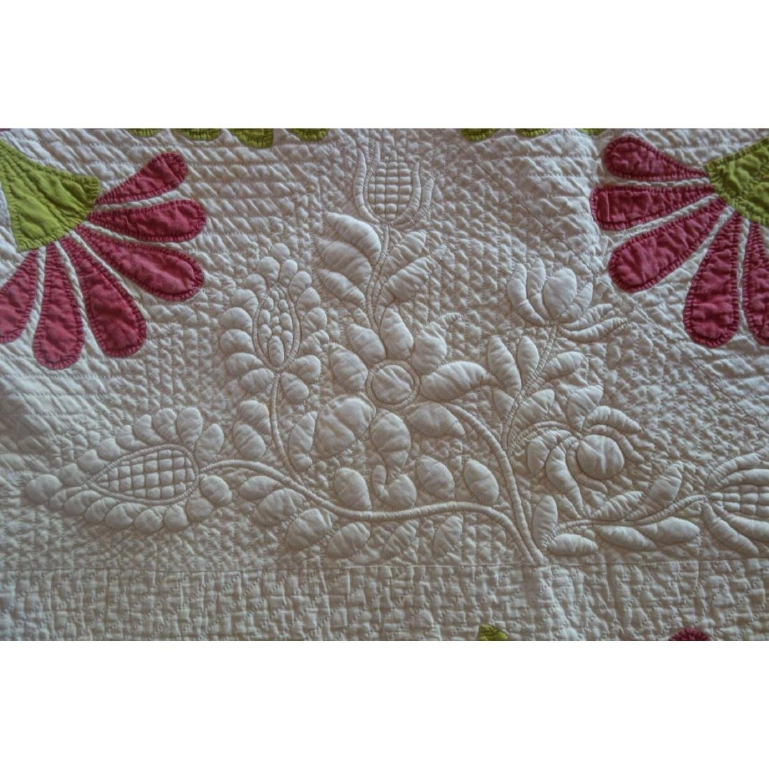 Trapunto Applique Quilt Exquisite Initialed 1800's - 3