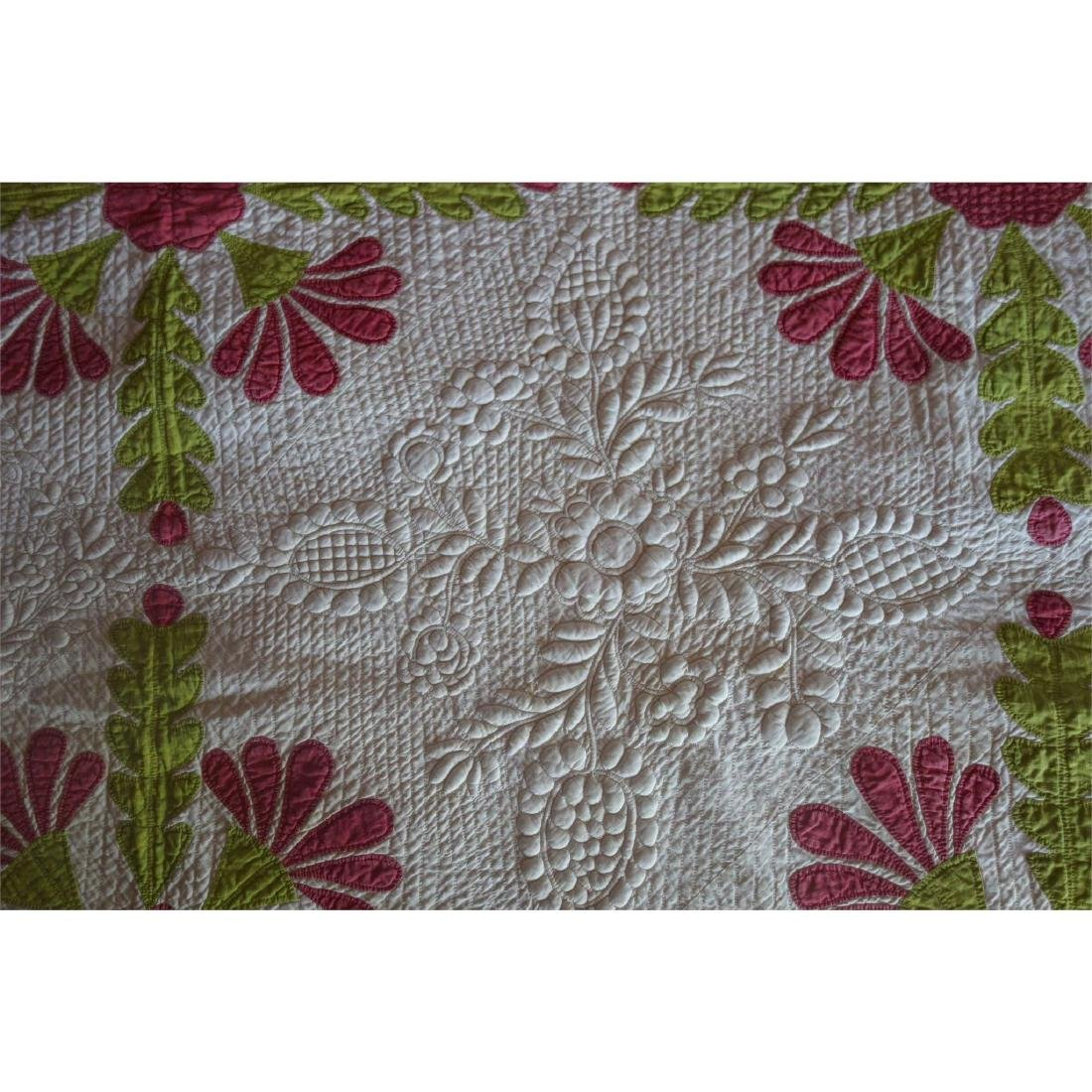 Trapunto Applique Quilt Exquisite Initialed 1800's - 4