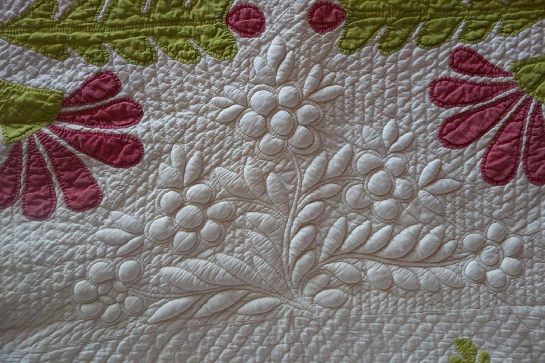 Trapunto Applique Quilt Exquisite Initialed 1800's - 5