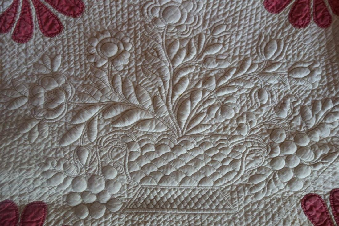 Trapunto Applique Quilt Exquisite Initialed 1800's - 7