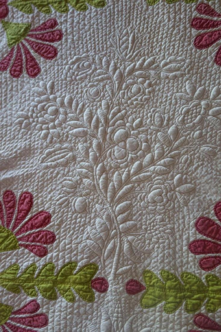 Trapunto Applique Quilt Exquisite Initialed 1800's - 9