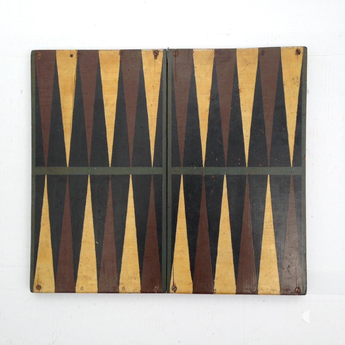 Late 19th Century All Original 4 Color Pine Gameboard