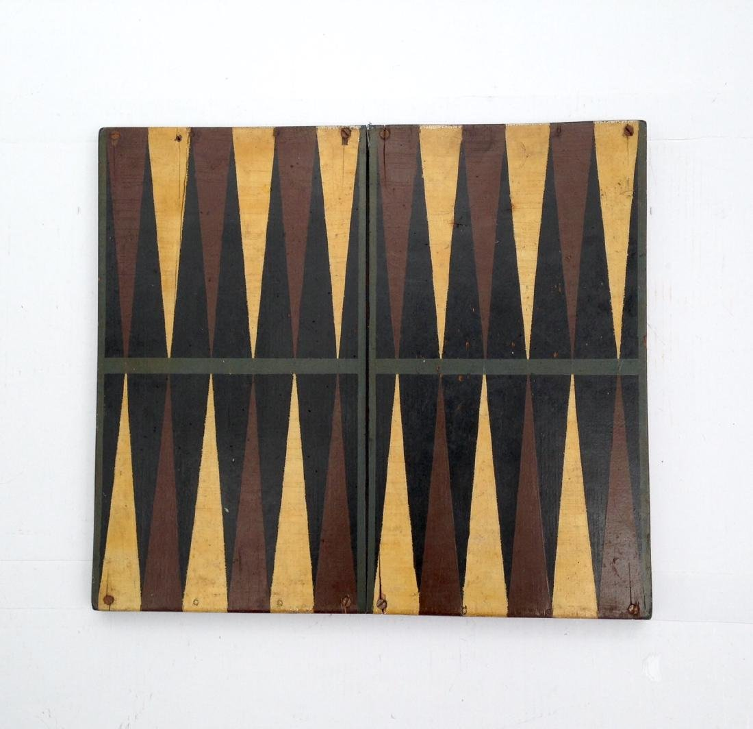 Late 19th Century All Original 4 Color Pine Gameboard - 2