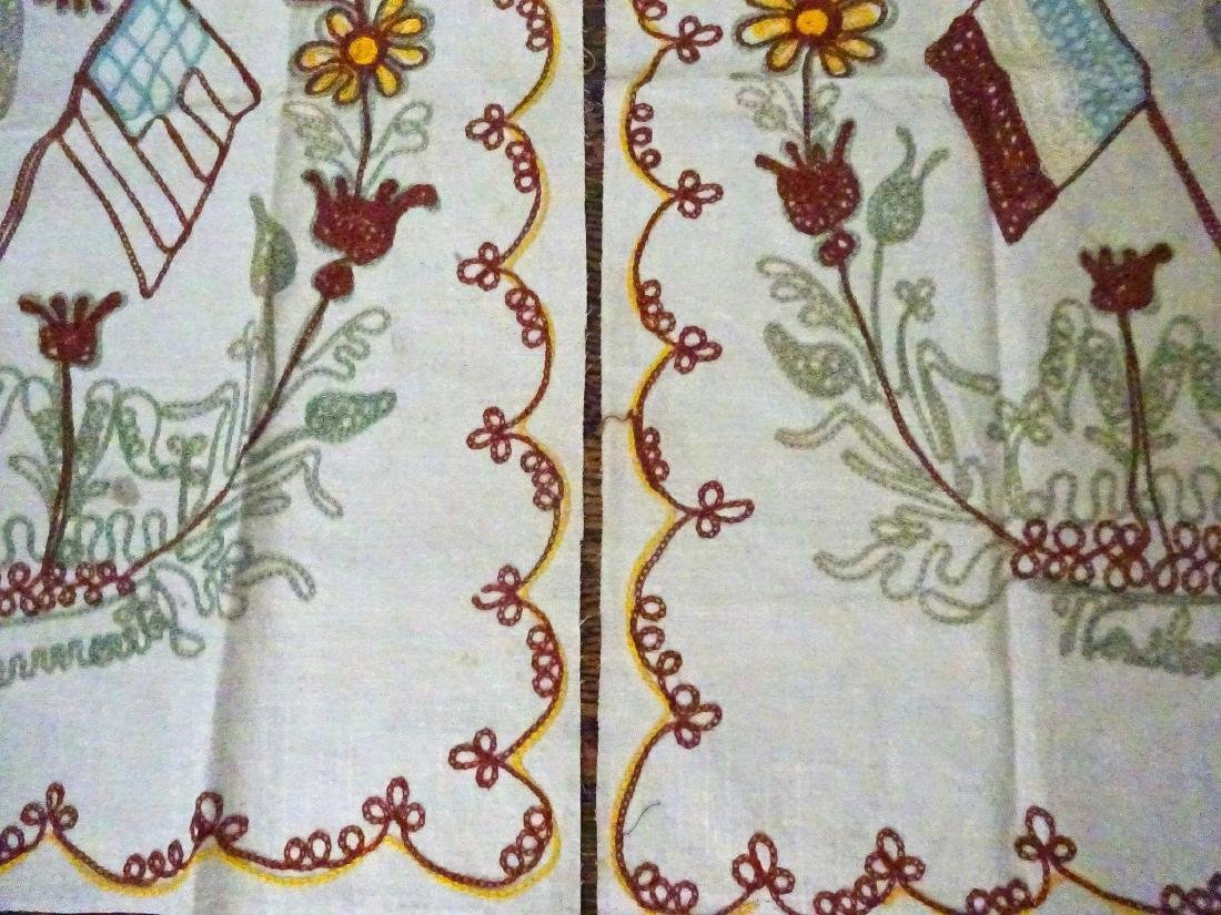 Old Pillow Shams Pair - Chain Stitched - 4