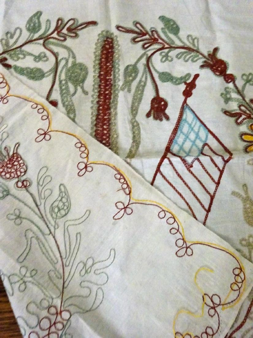 Old Pillow Shams Pair - Chain Stitched - 5
