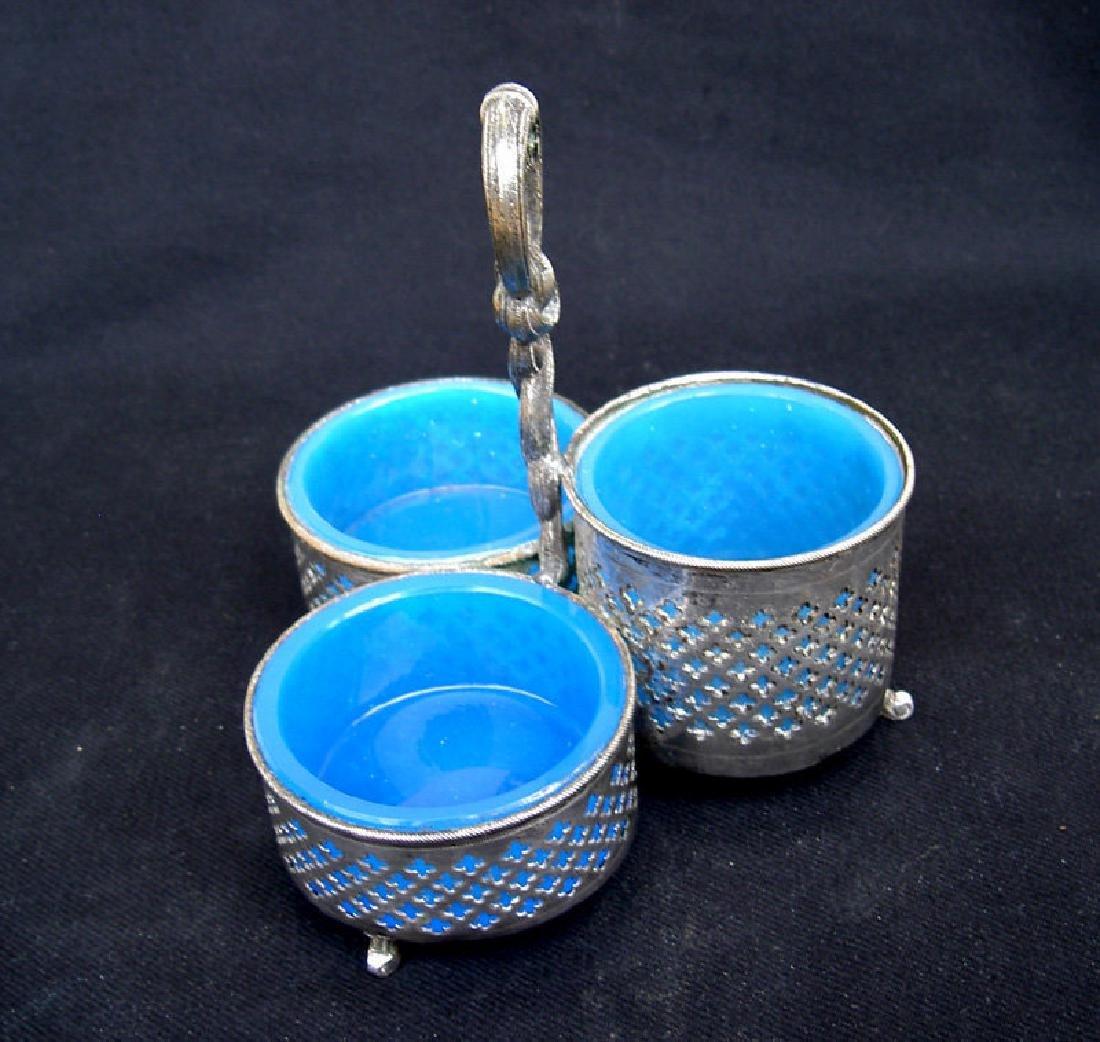 Opaline & silver plated cruet set, Sweden and France