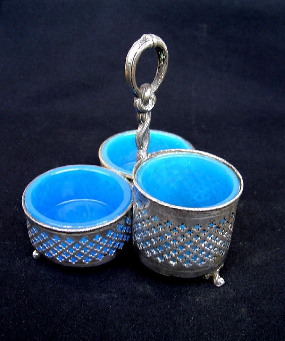 Opaline & silver plated cruet set, Sweden and France - 2