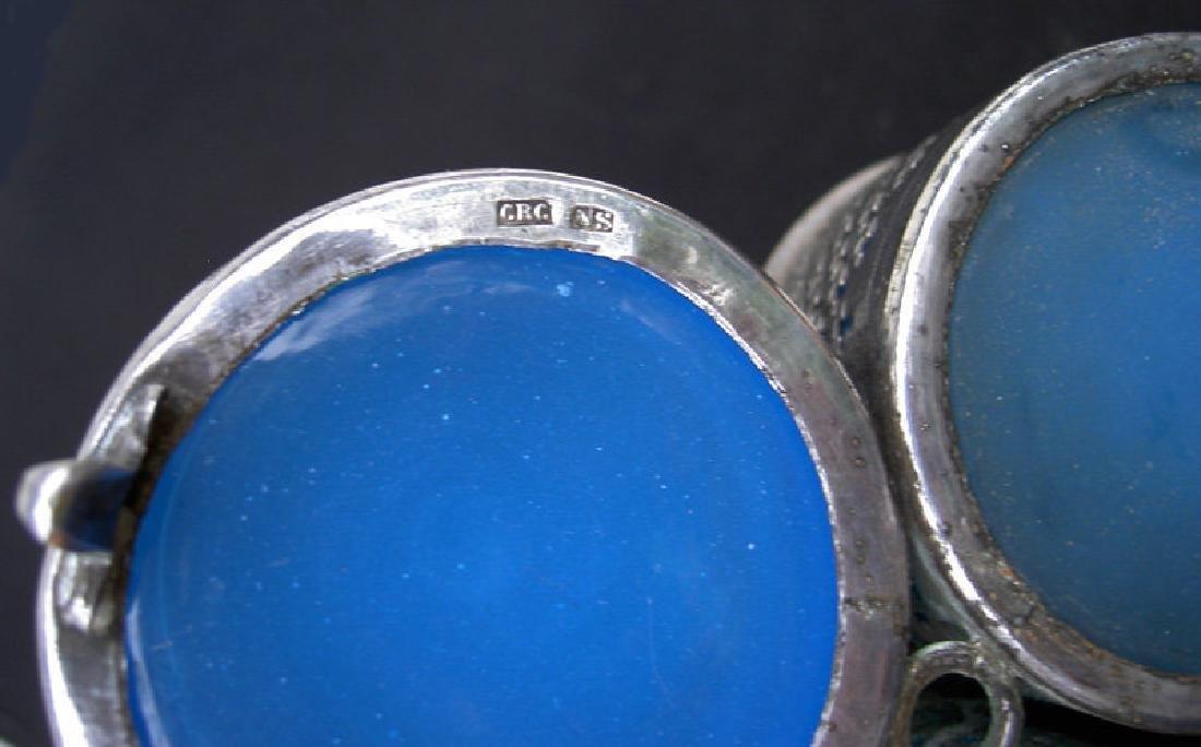 Opaline & silver plated cruet set, Sweden and France - 4