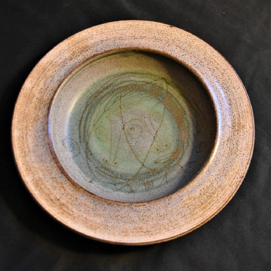 Edwin and Mary Scheier Art Pottery Dish with Two